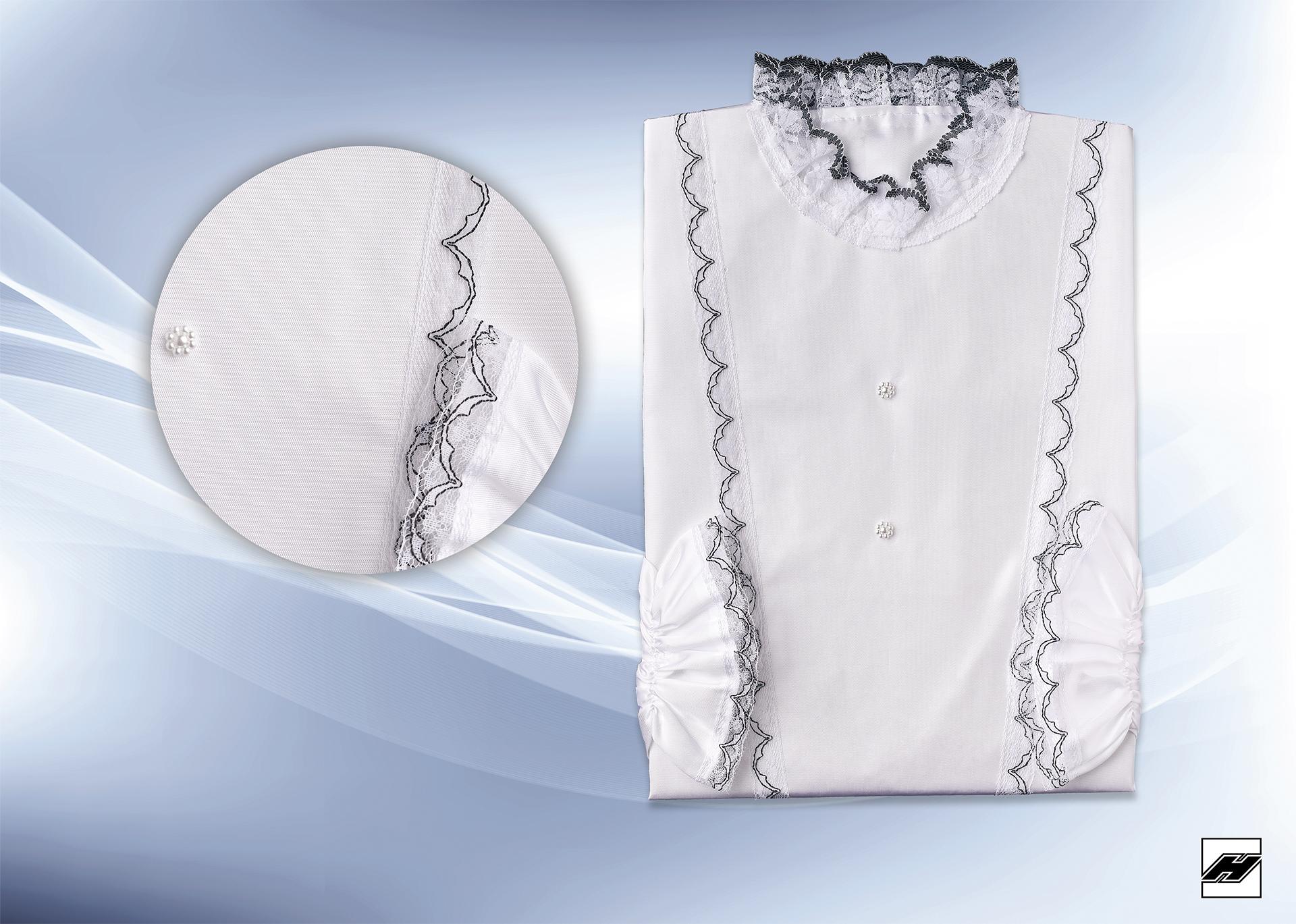 Damenkleid 297 KS weiß, Spitze s/w