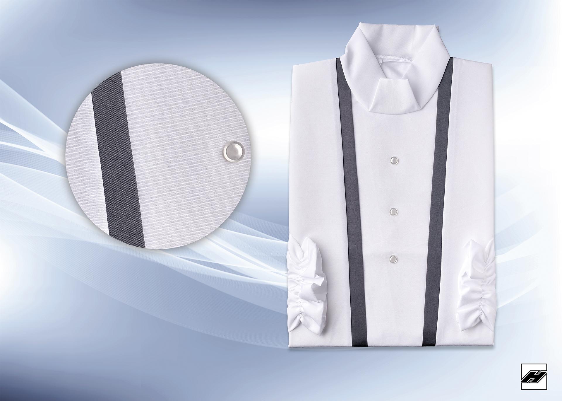 Damenkleid 2545 Microquilt weiß, Borde anthrazit